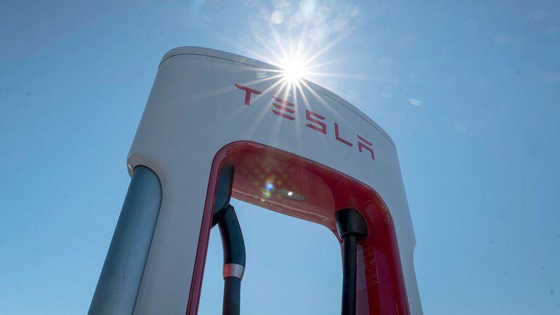 A Tesla charging station