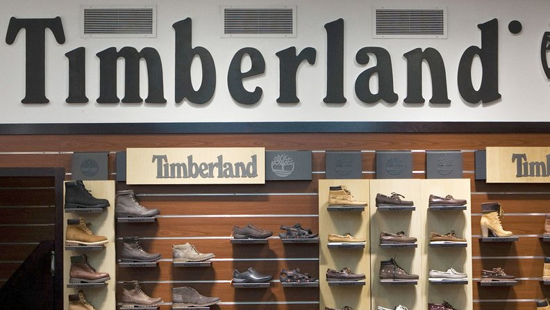 Timberland signage inside a shoe store in New York.