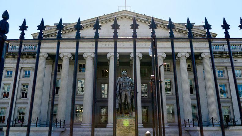 A statue of Albert Gallatin outside Treasury Department headquarters in Washington