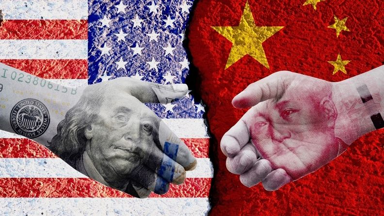 US. dollar and China Yuan banknote print screen on handshake with both flags countries