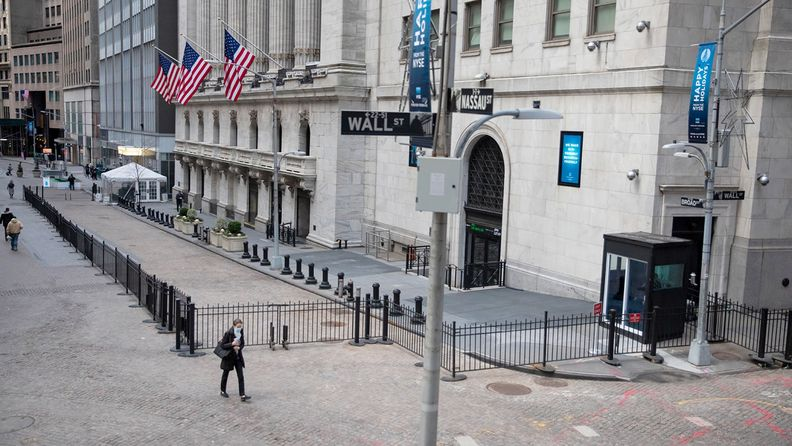 The corner of Wall and Nassau streets in lower Manhattan, home to the New York Stock Exchange