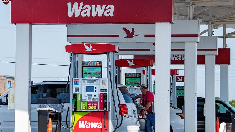 Fuel pumps at Wawa, a chain of fast food, gas and convenience stores