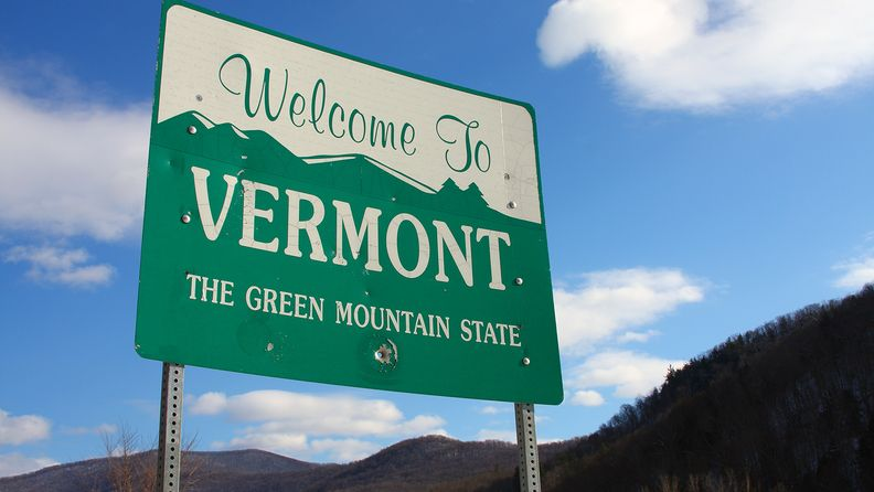 Welcome to Vermont highway sign