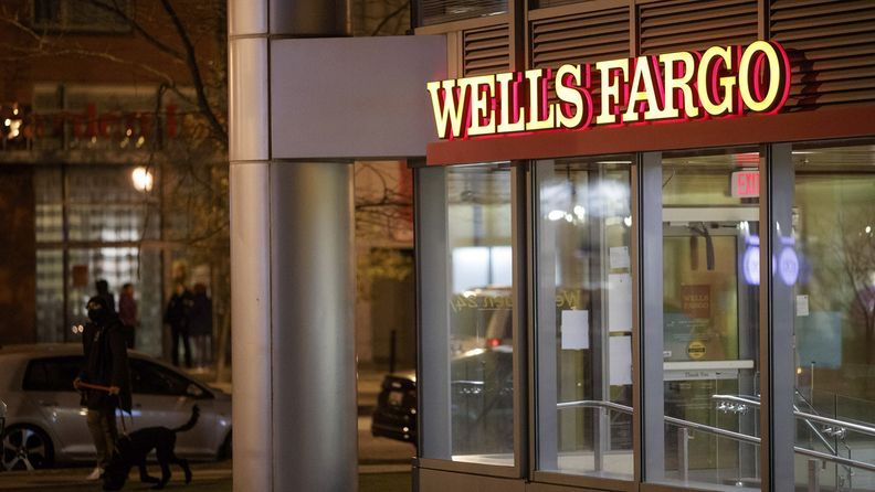 A Wells Fargo bank branch at night in Washington on Jan. 7, 2021