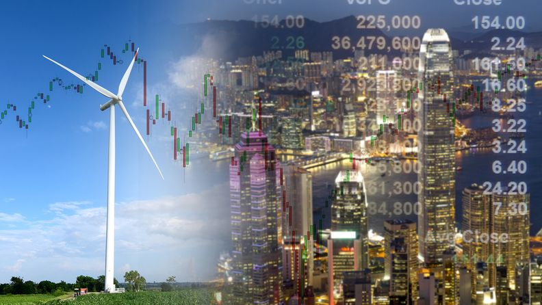 double exposure wind turbine and cityscape investment stock graph concept