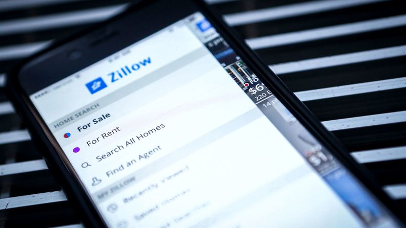 The Zillow Group Inc. application is displayed on an Apple Inc. iPhone